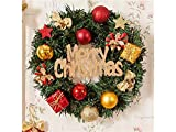 Gelaiken World Christmas Colored Ball Christmas Wreath Door Hanging Ornaments Room Christmas Tree Pendants for Decoration(Green)