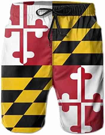 272b68c793 Mens Quick Dry Shorts Maryland Flag Boardshort Swim Trunk Beach Shorts