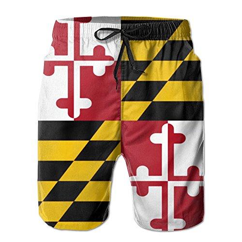 Aime Vidal Mens Quick Dry Shorts Maryland Flag Boardshort Swim Trunk Beach Shorts White (Maryland Swim Trunks)