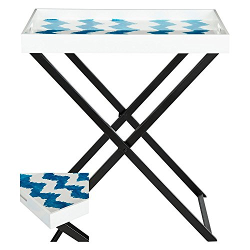 (Safavieh Home Collection Abba Tray Table, Blue/White)