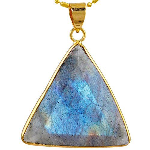 SUNYIK Facted Equilateral Triangle Labradorite Pendant Necklace for Unisex,Healing Crystal (Pendant Labradorite Crystal)