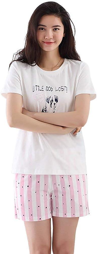 Pijamas Mujer Elegantes Manga Corta V-Cuello Cartoon Patrón ...