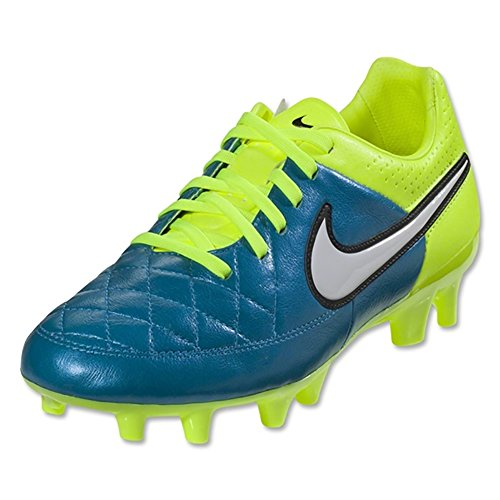 NIKE Women's Tiempo Legacy FG Soccer Cleats (6.5 B(M) US, Blue Lagoon, White, Volt) by NIKE