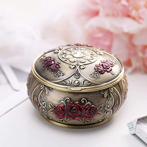 Cigarette ashtray Ashtray XDWM123 Bronze Safflower With Lid Seal Zinc Alloy Personality Creative Three-dimensional Carving Living Room Office 3D Engraving Windproof Size (11.37cm) Smokeless ashtray f Bronze F-series Accent Accent
