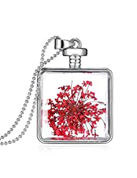 Jiayiqi Natural Dried Flower Clear Glass Pendant Necklace Jewelry for Women Sweater Accessories
