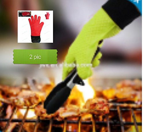 Silicone Gator Gloves - Highest Rated Heat Resistant Silicone BBQ Oven Gloves - Red (Starter Lynx)