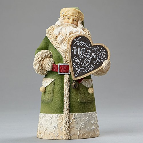 "Enesco Department 56 Heart of Christmas ""Mini Santa Home"" Stone Resin Figurine, 5.12"""