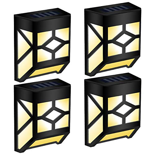 GIGALUMI 4 Pack Solar Deck Lights, Waterproof Mission-Style Solar Wall Lights for Outdoor Deck, Patio, Stair, Yard, Path and Driveway. (Warm White)