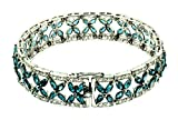 RB Gems Sterling Silver 925 TENNIS Bracelet GENUINE GEMSTONE Marquise 17 Cts with RHODIUM-PLATED Finish (london-blue-topaz)