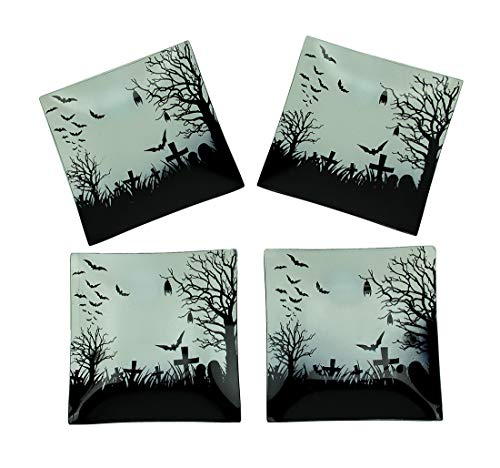 Transpac Set of 4 Spooky Bat and Cemetery