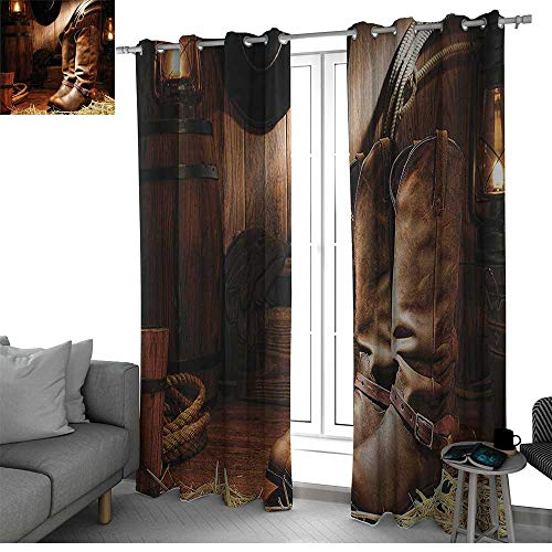 bybyhome Western Decor Thermal Insulated Blackout Patio Door Curtain Panel Wild West Boots in Wooden Room Classical Folkloric Old Fashioned Wild Sports Theme Curtain Living Room Brown W108 x L84 Inch