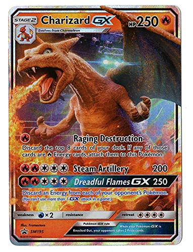 Charizard GX - SM195 - Detective Pikachu Promo Card - Holo FOIL - NM/M - 100% Guaranteed Authentic (Pikachu Cards Pokemon Promo)