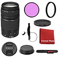 Canon EF 75-300mm f/4-5.6 III DSLR Lens Bundle With Filters, Lens Cap Keeper and More