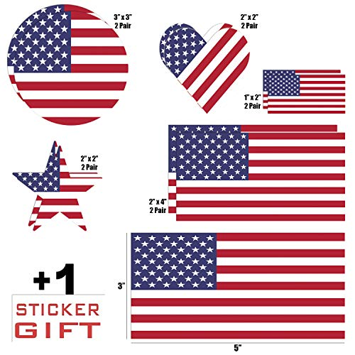 10 Pack USA American Flag Vinyl Decal Army Navy Tactical Military Country Weather-Resistant Bumper Sticker Set for Car, Truck, RV, Motorcycle, Bicycle, Scooter, SUV 1 See-Thru Gift Sticker