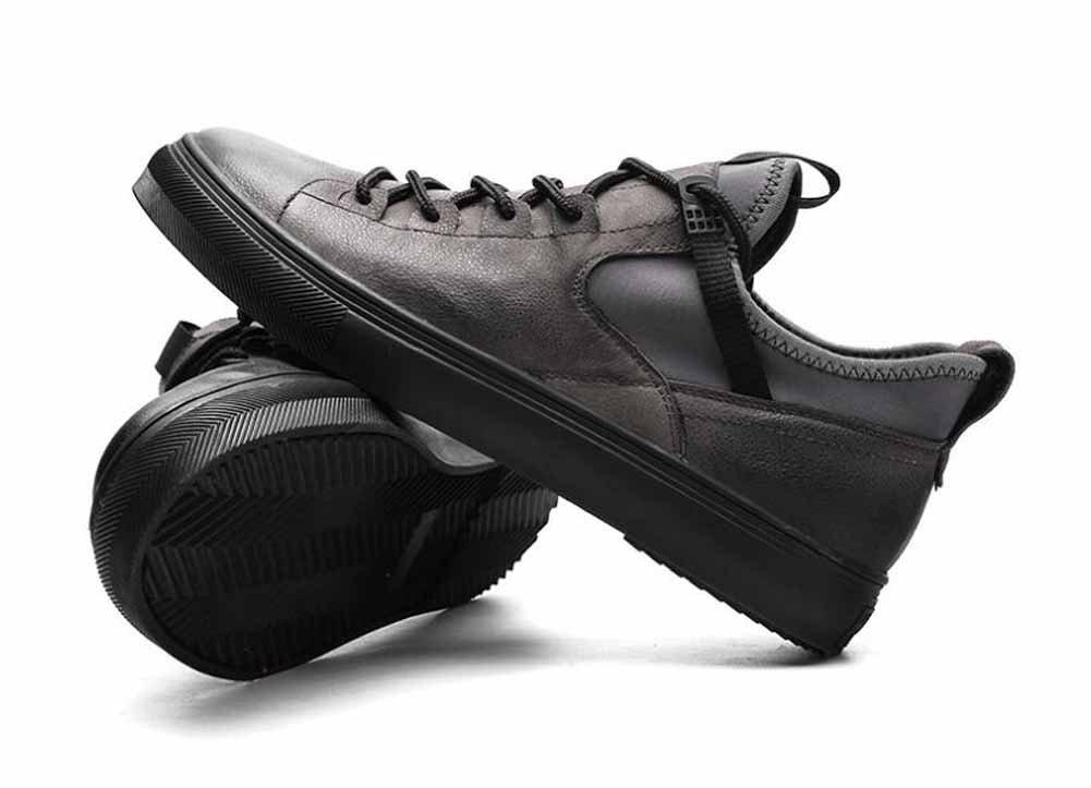 GLSHI Männer Casual Leder Flache Flache Flache Schuhe 2017 Herbst Winter Neue Skateboard Schuhe Leichte Trainer 2427df