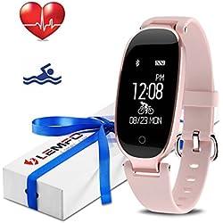LEMFO Fitness Tracker Heart Rate Monitor Women Swimming Waterproof Activity Tracker Smartband Sleep Monitor Pedometer Bracelet Bluetooth Fitness Smart Watch Wristband (Rose Gold)
