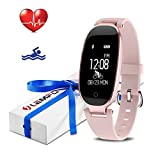 LEMFO Fitness Tracker Heart Rate Monitor Women Swimming Waterproof Activity Tracker Smartband Sleep Monitor Pedometer Bracelet Bluetooth Fitness Smart Watch Wristband (Rose Gold)