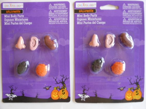 Halloween 5 Pc Mini Body Parts 2 Packages Included (10 Pc (Parts Package)