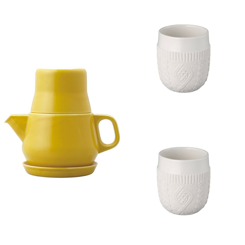 KINTO Yellow Tea For One and Two Double Wall Cup, Knit, Set of 3