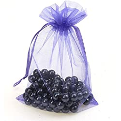 "CMAJOR Organza Bags 100pcs Satin Drawstring Wedding Favor Jewelry Candy Watch Party Gift Pouch (6"" x 9"", Violet)"