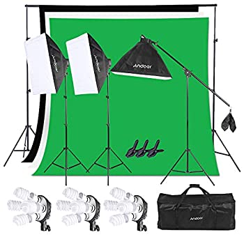 Image of Andoer 6.6ft x 10ft Background Support System and Photography Stuido Lighting Kit, Including 3pcs Backdrops(White/Black/Green) Screen with 3pcs 20x28 Inch Softbox for Video, Portrait, Product Shoot