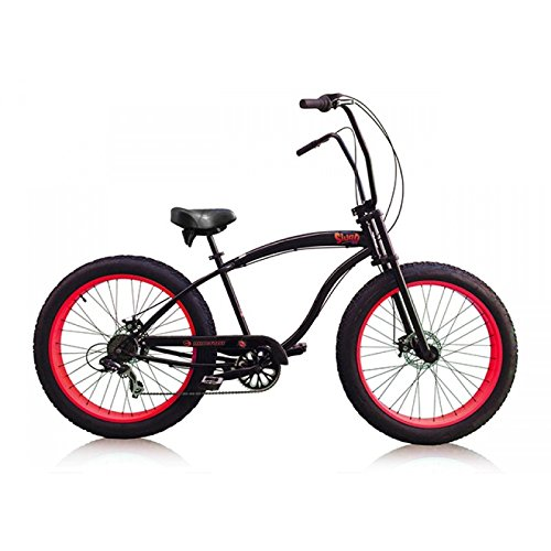 "Micargi Slugo-SS 26"" Fat Tire 7 Speed Cruiser Bicycle w/ Hi RISE Handlebar, Red"