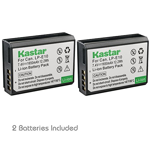 Kastar Battery (2-Pack) for Canon LP-E10, LC-E10 work with Canon EOS Rebel T5, EOS Rebel T3, EOS Kiss X50, EOS Kiss X70, EOS 1200D, EOS 1100D DSLR Cameras