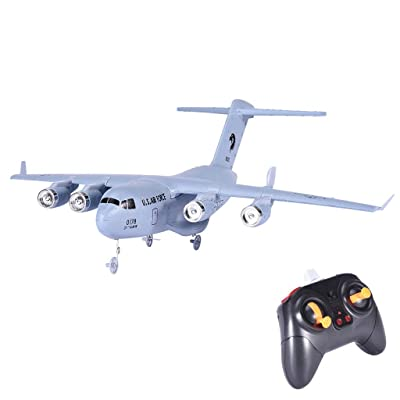 Mictiona Remote Control Airplane Glider - C-17 2.4GHz 2CH 3-Axis RC Plane Transport Aircraft EPP with Gyro RTF Toy Perfect for Kids, Adults, Beginner (White): Home & Kitchen [5Bkhe0203282]
