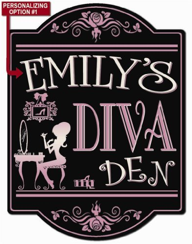 Diva Girls Vanity (Diva Den - Girls Bedroom Personalized Hardboard Sign From Redeye)