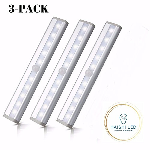 Motion Sensor Closet Lights,Cabinet Light,DIY Stick-on Anywhere Wireless 10 LED Light Bar,Safe Lights with Magnetic Strip for Closet Cabinet Wardrobe Stair (3 Pack Light,Battery Operated) (5000K) by HAISHI