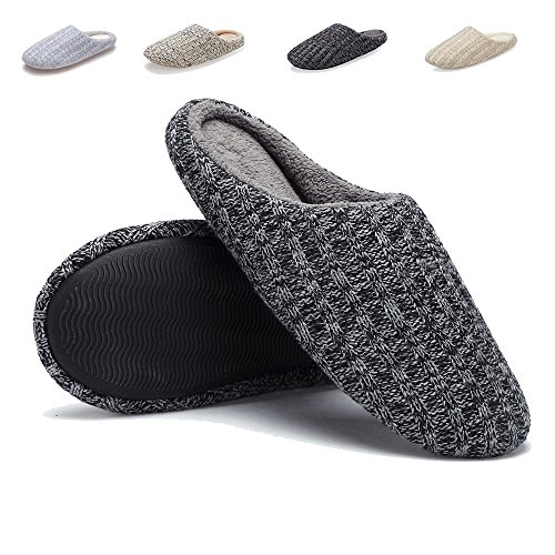 Indoor House Slippers Men Women Cotton Knitted Anti Slip Autumn Winter Shoes