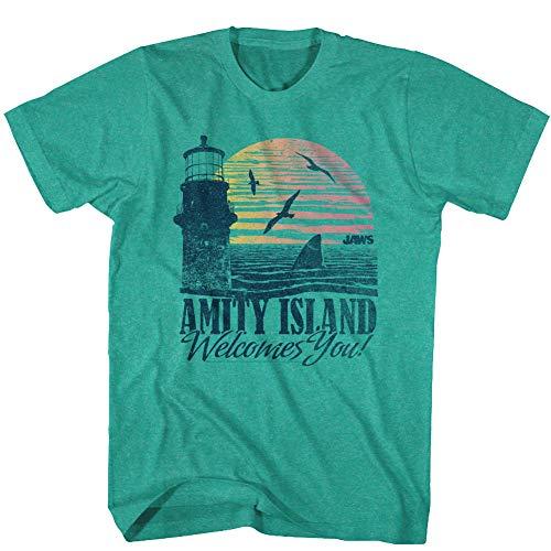 Jaws T-Shirt Amity Island Welcomes You Lighthouse Mahi Heather Tee, XL