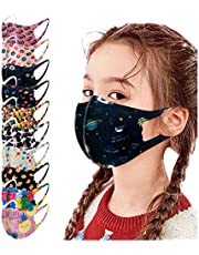 SUMSAYEI 10PC Face_Masks for Kids Childrens Cute Cartoon Print Ice Silk Reusable Washable Breathable Face Bandanas