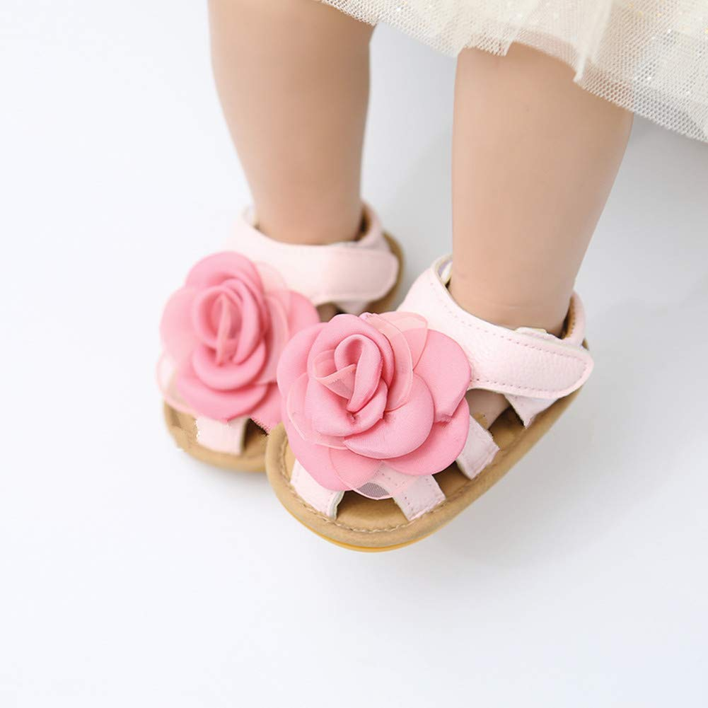 Baby Girls Summer Sandals Toddler Infant Cute Flowers Anti-Skid Rubber Sole First Walkers Shoes