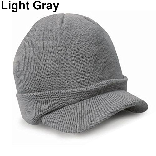 - Lightclub Men Women Fashion Warm Baggy Crochet Visor Brim Winter Ski Cap Outdoor Knit Hat (Light Gray)