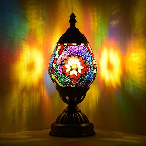 Marrakech Turkish Table Lamp Christmas Decorations Gift Mosaic Glass Egg Shaped Bedside Lamp Moroccan Lantern Desk Night Light Lamps