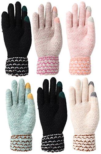 Women's Fleece Lined Acrylic Magic Glove with Touchscreen Technology 6 Pair (Chevron (Acrylic Fleece)