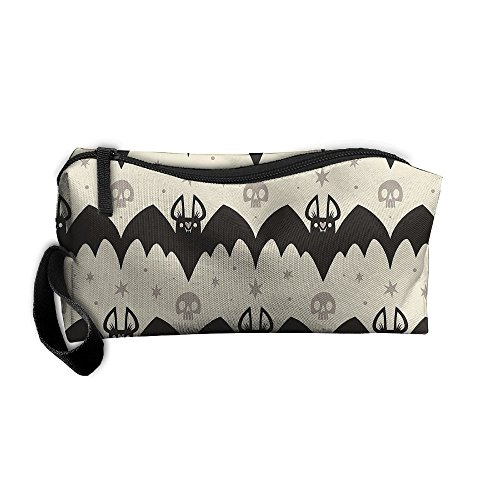 YUAN TING Wicked Bats Skulls Classic Potable Cosmetic Bags Large Capacity Pencil Pen Case Makeup Bags with Zipper Travel Home Organizer Purse Pouch