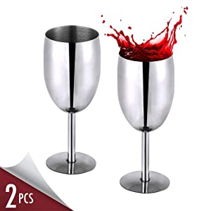 Wine Glass Set, Stainless Steel Long Stem Wine Glasses for White Red Wine Cocktail, Set of 2 Dishwasher Safe No BPA Unbreakable 8 Oz Wine Goblet for Housewarming Travel Outdoor Camp Picnic Formal Use