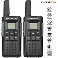 FLOUREON Walkie Talkies 2 Packs Rechargeable Two-Way Radio 7KM Long Range UHF 400-470MHz Walky Talky 22 Channel Handheld with LED Light FM Radio Function for Field Survival Biking and Hiking