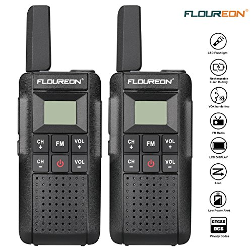 FLOUREON Rechargeable Walkie Talkies 2 Packs Two-Way Radio UHF 400-470MHz Walky Talky 22 Channel Handheld with LED Light FM Radio Function for Field Survival Biking and Hiking (V2)