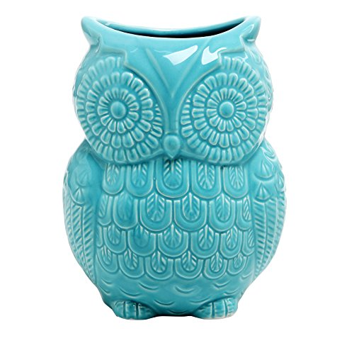 MyGift Large Owl Design Ceramic Cooking Utensil Holder, Kitchen Storage Crock, Aqua Blue