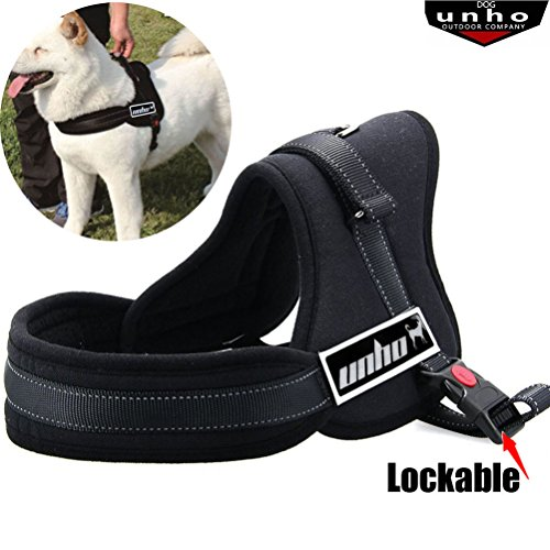 UNHO No Pull No Chock Dog Harness, Heavy Duty, Comfortable Breathable and Adjustable with Top Handle for Small Medium Large Breeds Black S