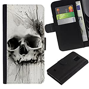 Muerte Acuarela Dibujo metal- la tarjeta de Crédito Slots PU Funda de cuero Monedero caso cubierta de piel Para Samsung Galaxy S5 Mini (Not S5), SM-G800