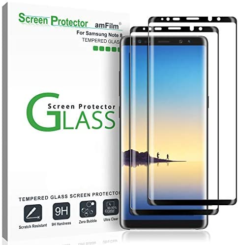 amFilm (2 Pack) Glass Screen Protector for Samsung Galaxy Note 8, Full Screen Coverage, 3-D Curved Tempered Glass, Dot Matrix with Easy Installation Tray (Black)