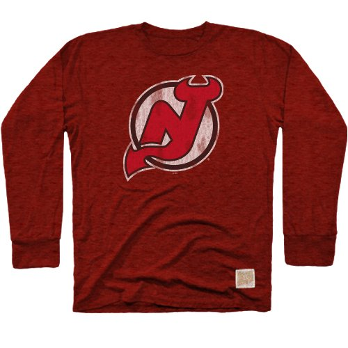 Original Retro Brand NHL New Jersey Devils Men's Long Sleeve Tri-Blend Tee, Small, Red (Sleeve Jersey Retro Long)