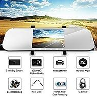"""SMBOX A80 Full HD 1080P 5 """"Écran de surveillance de miroir avant de 170 degrés Caméra Dashcam de voiture + caméra à double angle avec vue arrière grand angle de 100 degrés avec enregistrement en boucle, détection de mouvement, capteur G, etc."""