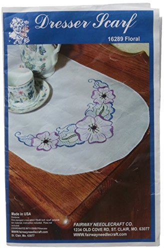 Fairway 16289 Dresser Scarf, Floral Motif Design, White, Perle Edge