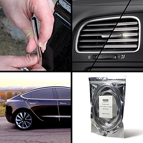 VViViD Silver Chrome Car Door Edge Seal Adhesive Protector 1.8m Strip (1 Roll - Hood Vents Edge