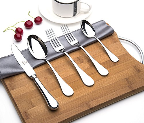 OTW PAVILION 5 Piece Utensils Set,Thick Polished 18/10 Stainless Steel Round Edge Flatware Set, Silverware Cutlery Set, Service for 1,Include Hollow Handle Knife/Fork/Spoon,Mirror Polished,Dishwash